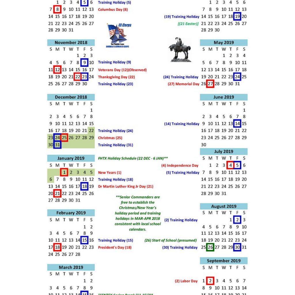 Army Fiscal Year 2019 Calendar With Fort Hood On Twitter HOLIDAY SCHEDULE FISCAL YEAR A