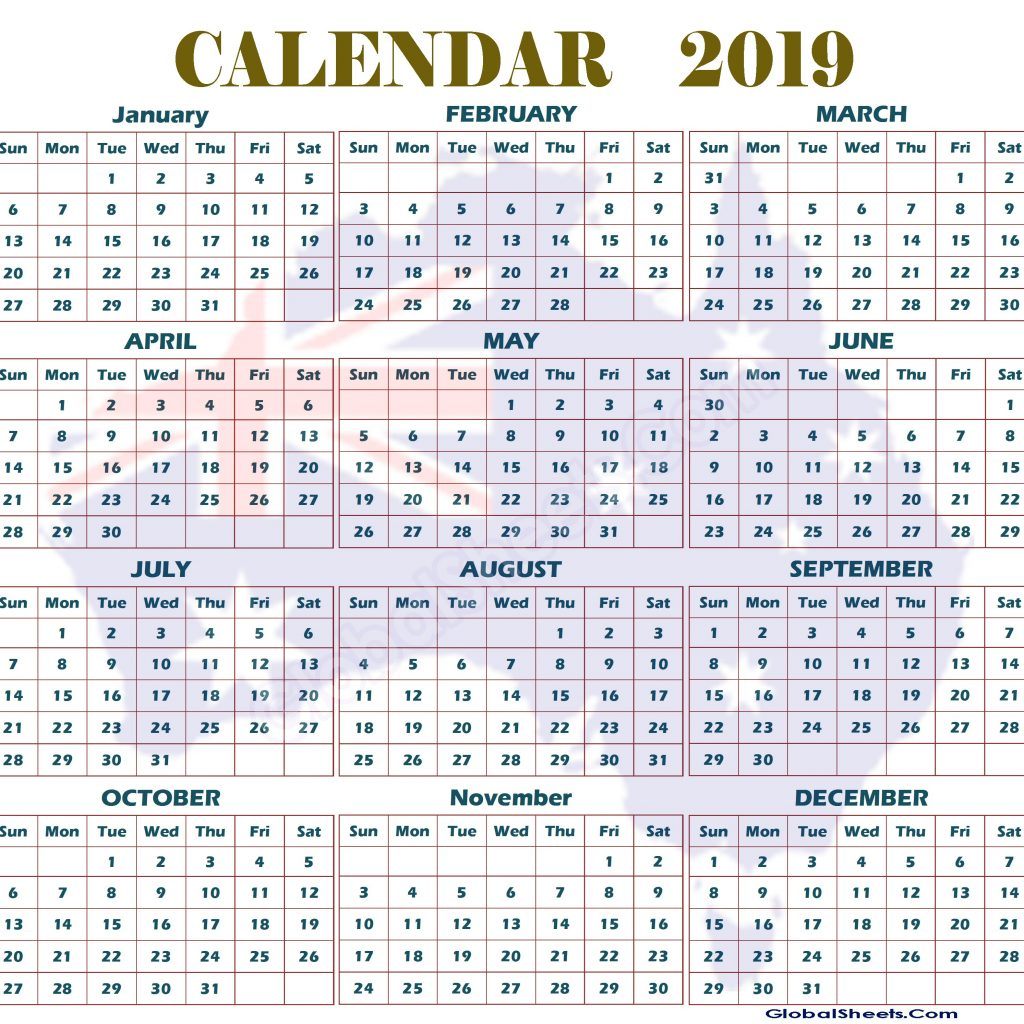 Australian 2019 Year Calendar With And Printable Australia Yearly