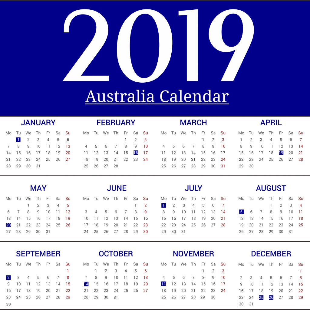 Australian 2019 Year Calendar With Free Yearly Template Australia Holidays April