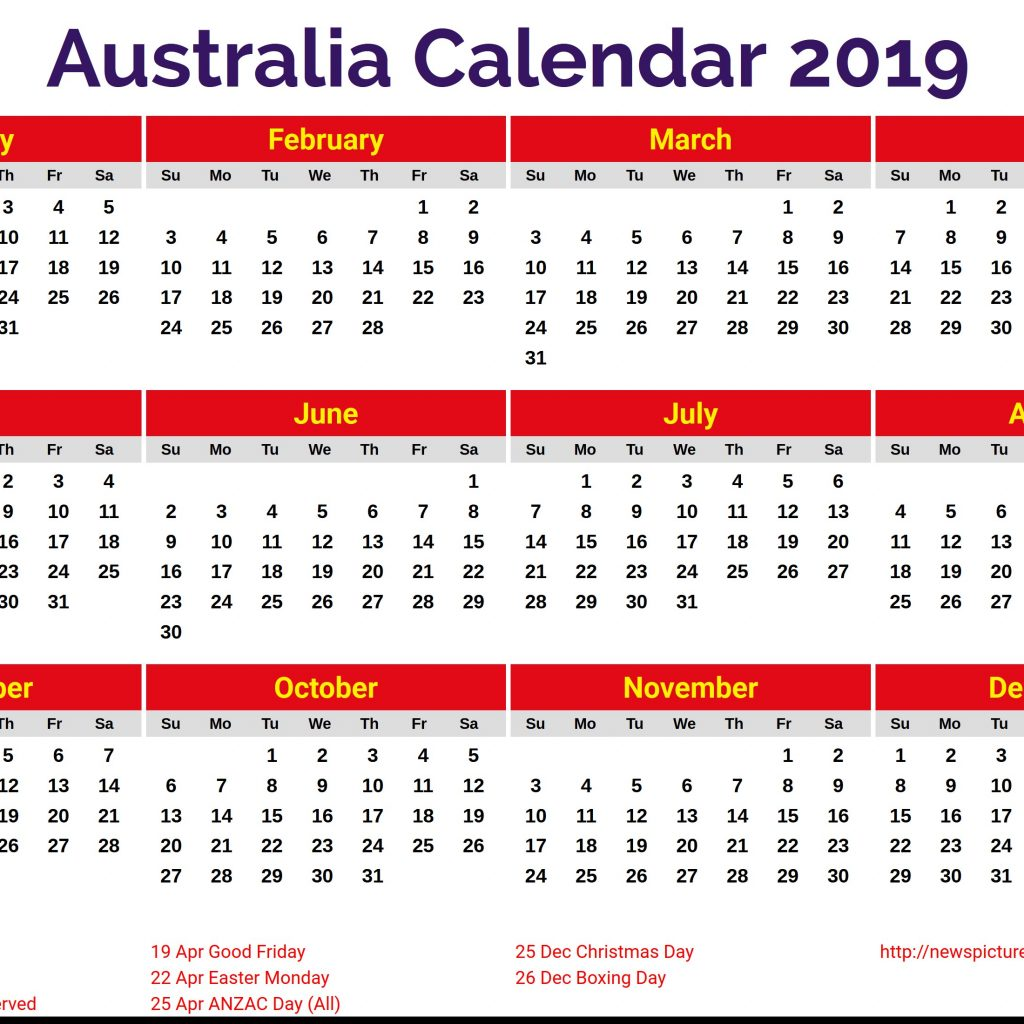 Australian 2019 Year Calendar With Printable Australia Get Free