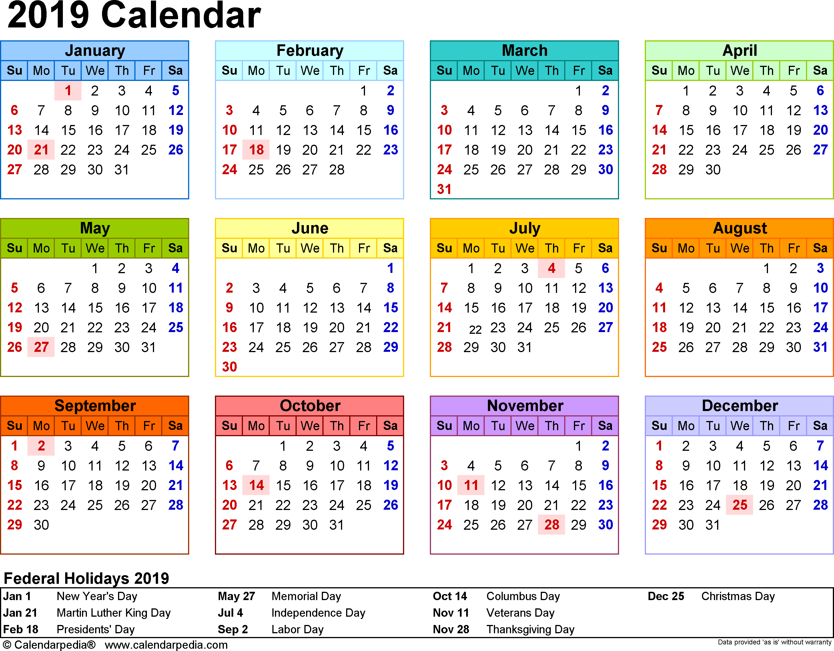 Australian 2019 Year Calendar With South Australia Printable Coloring Page For Kids