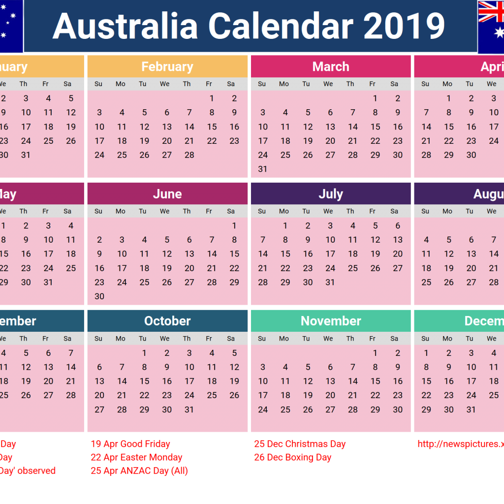 Australian 2019 Year Calendar With Template Yearly Printable Australia Holidays