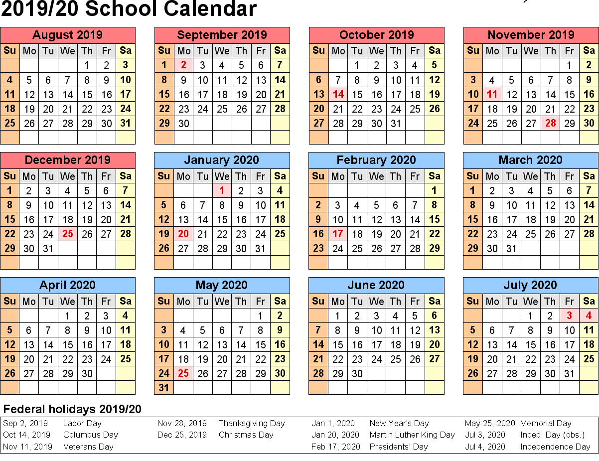 Australian 2019 Year Calendar With Yearly School Holidays Australia Templates Download