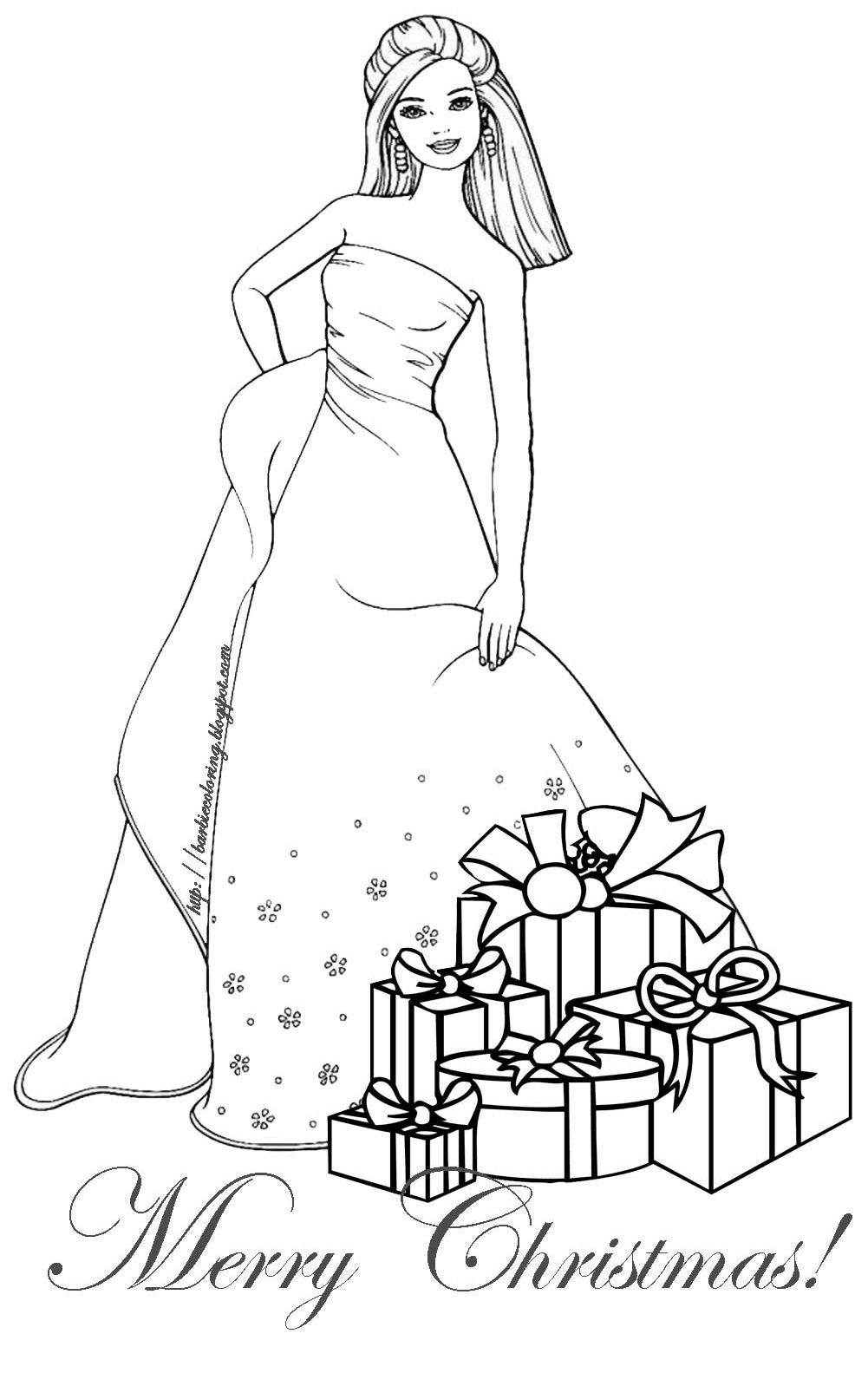 Barbie Christmas Coloring Pages To Print With BARBIE COLORING PAGES CHRISTMAS