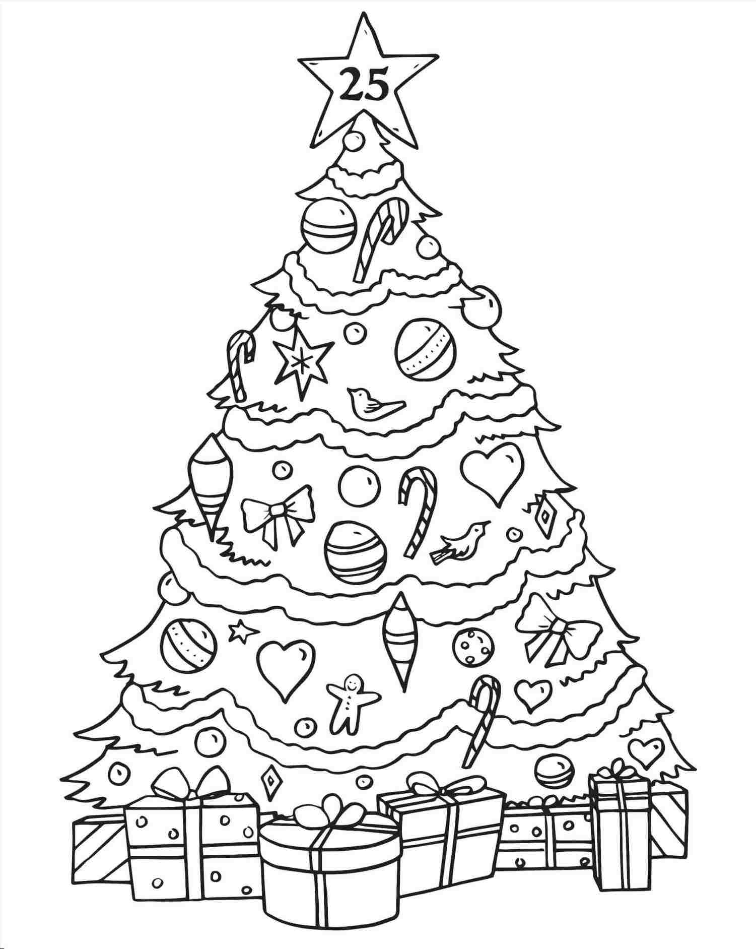 Big Christmas Tree Coloring Pages Printable With Black And White Card Line Rhpinterestcom