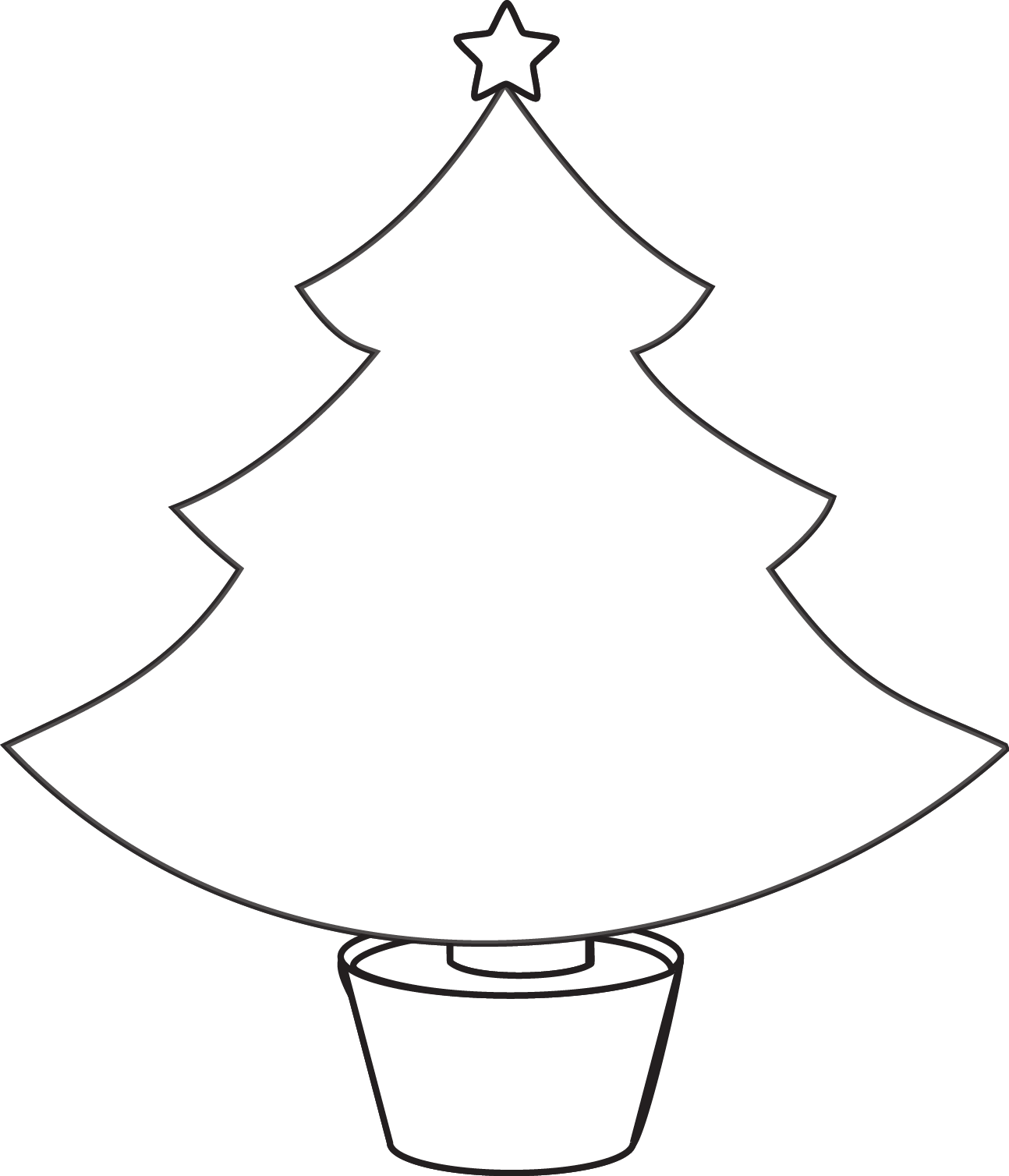 Big Christmas Tree Coloring Pages Printable With Free Line Drawing Download Clip Art