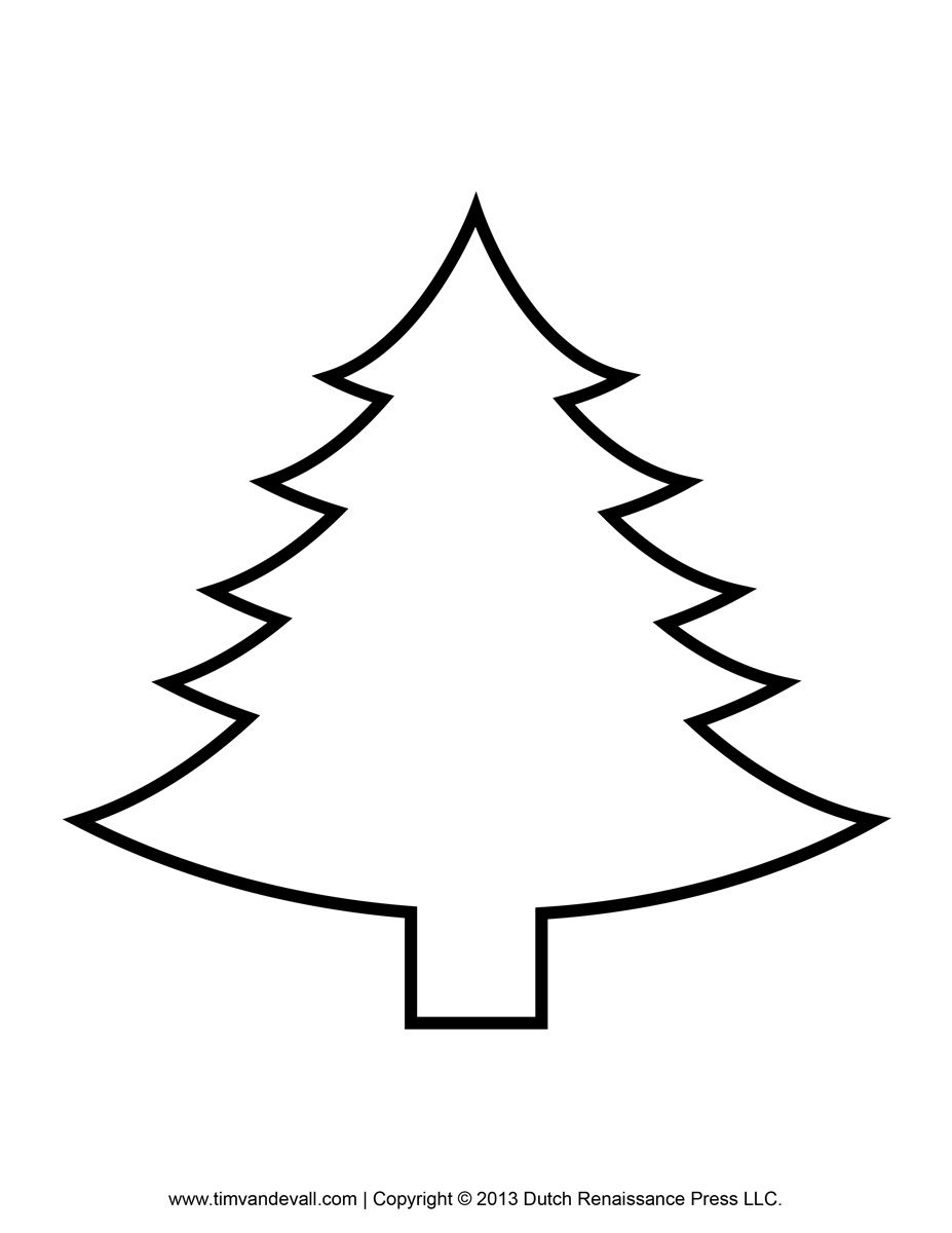 Big Christmas Tree Coloring Pages Printable With Paper Template Clip Art