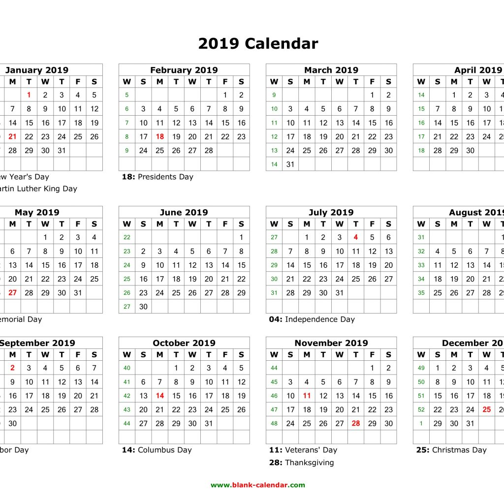 Blank Year Calendar 2019 With Download US Holidays 12 Months On One Page