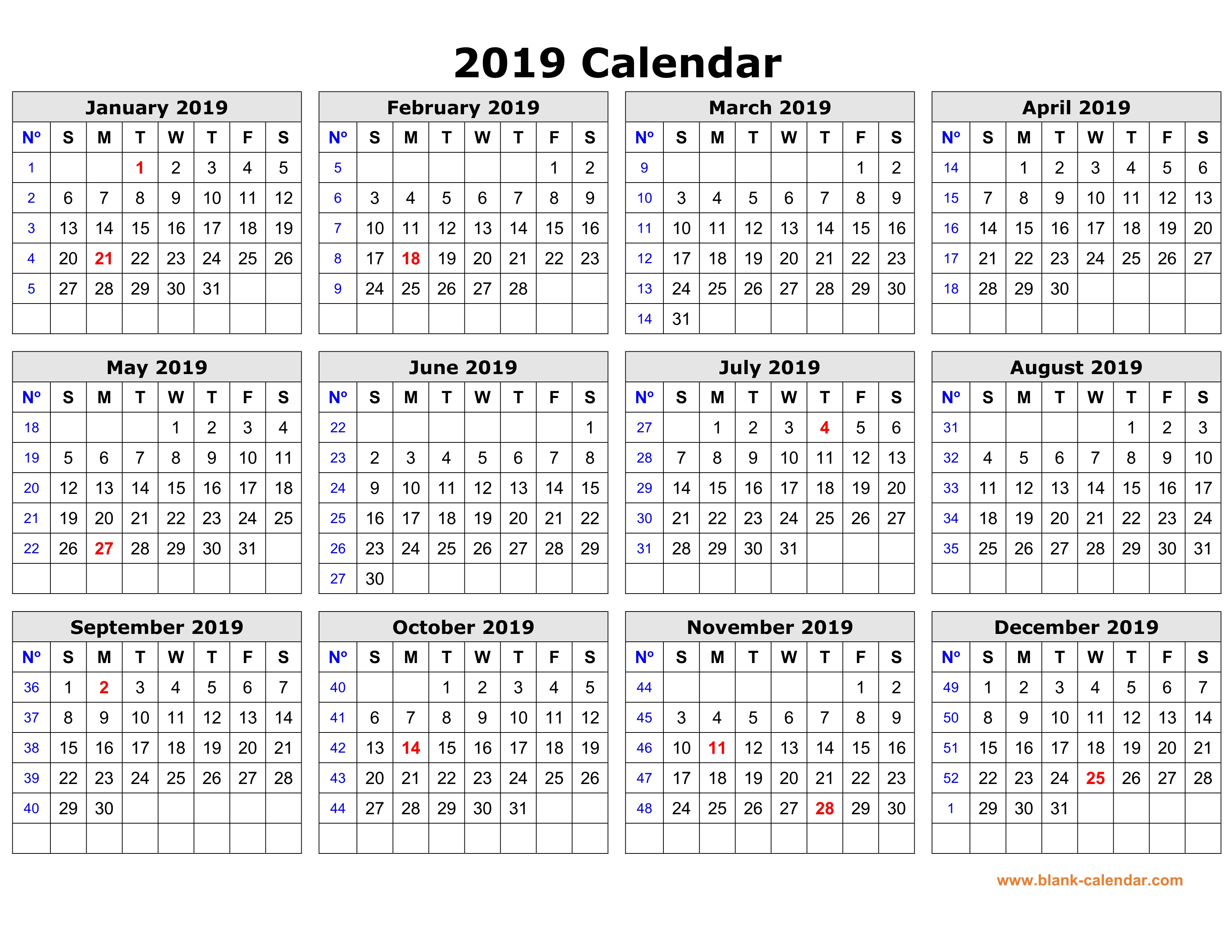 Blank Year Calendar 2019 With Free Download Printable In One Page Clean Design