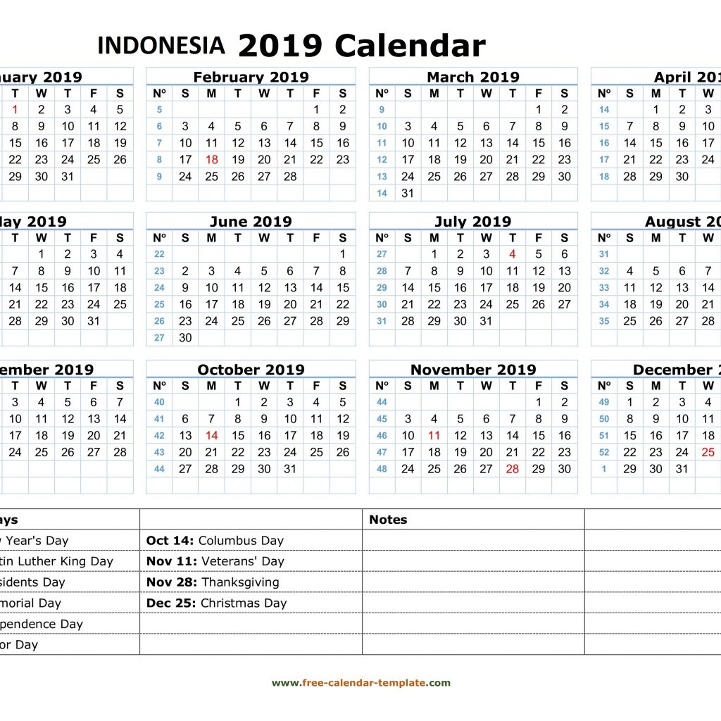 Blank Year Calendar 2019 With Get Yearly Indonesia Holidays Free December