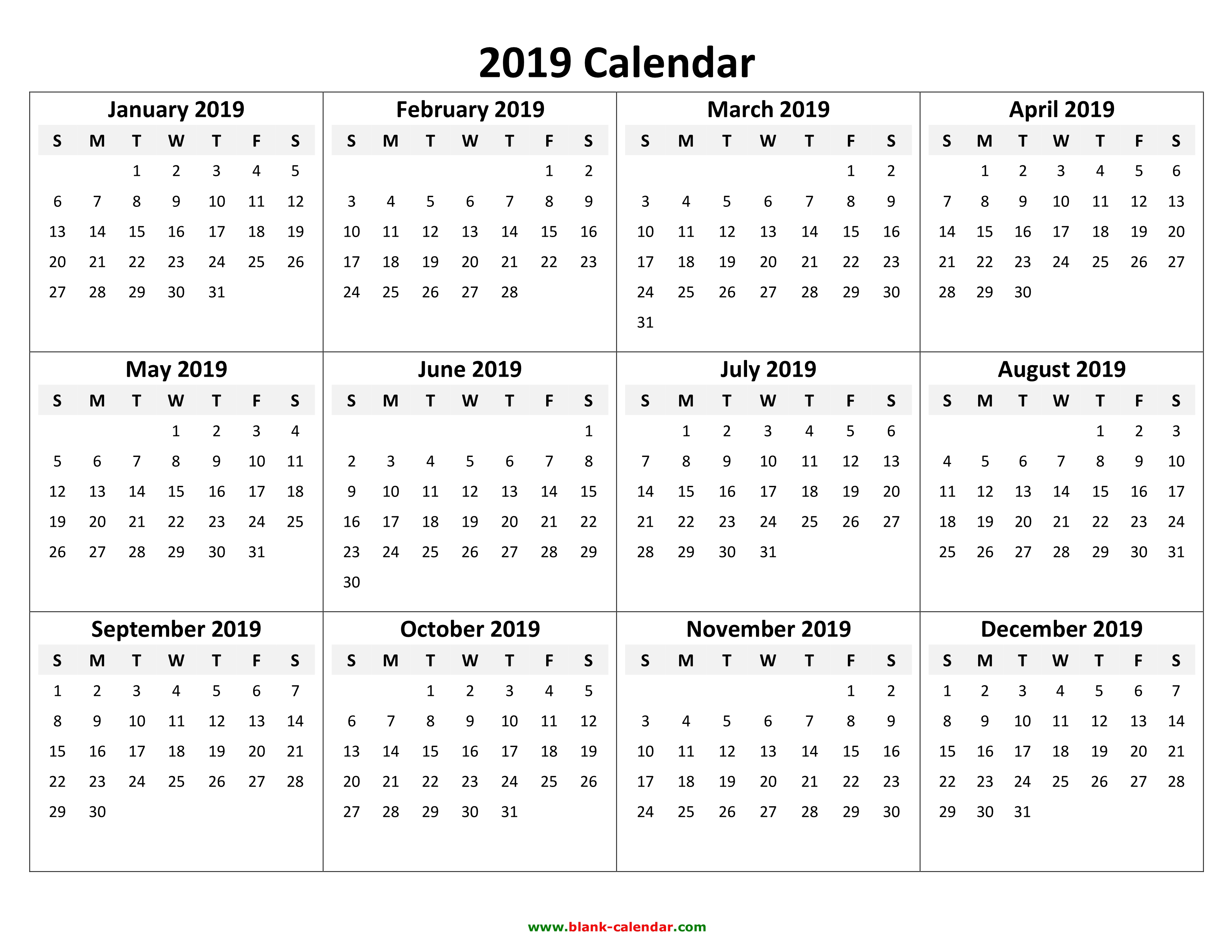 Blank Year Calendar 2019 With Yearly Free Download And Print