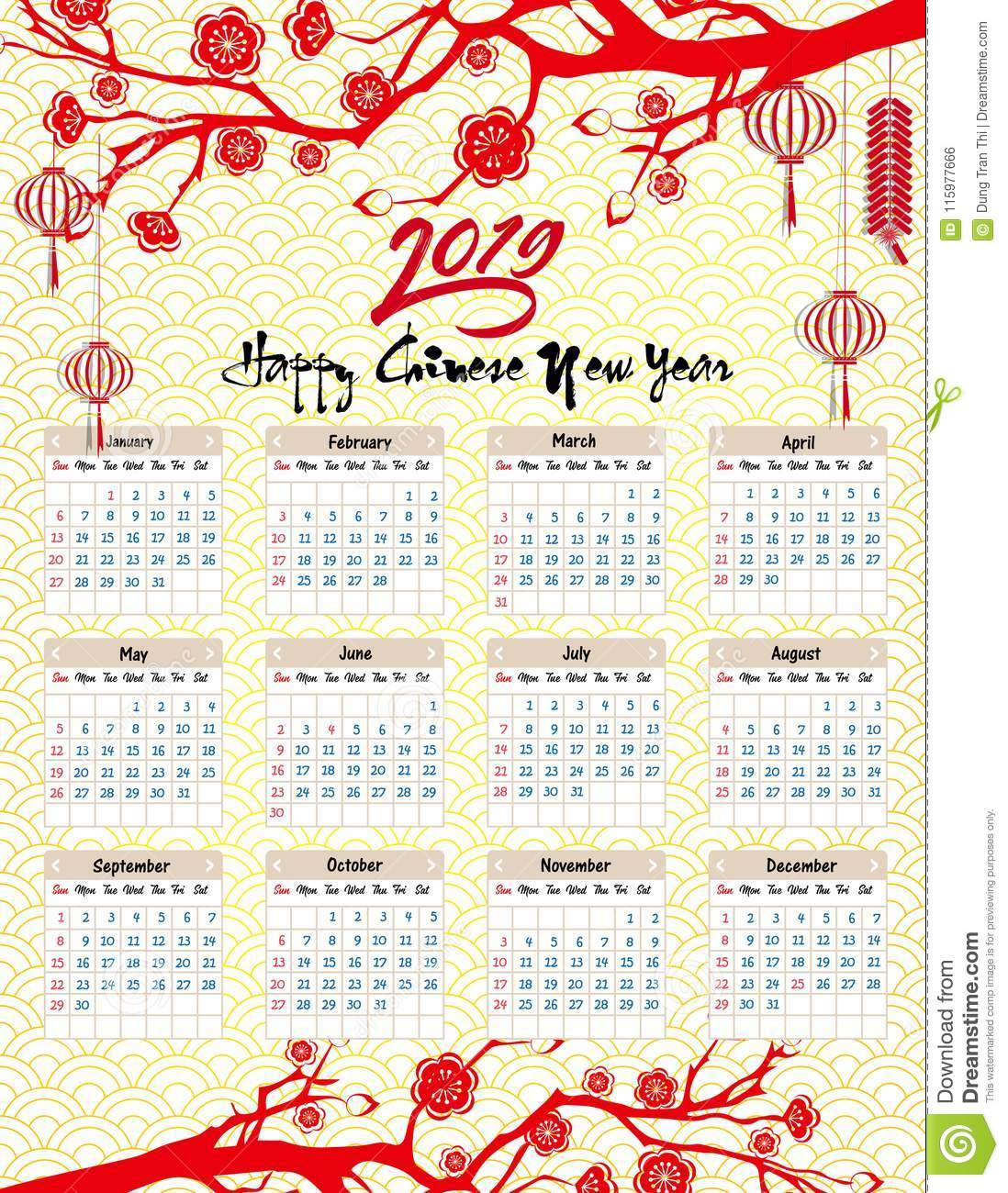 Calendar 2019 Chinese New Year With For Happy Of The