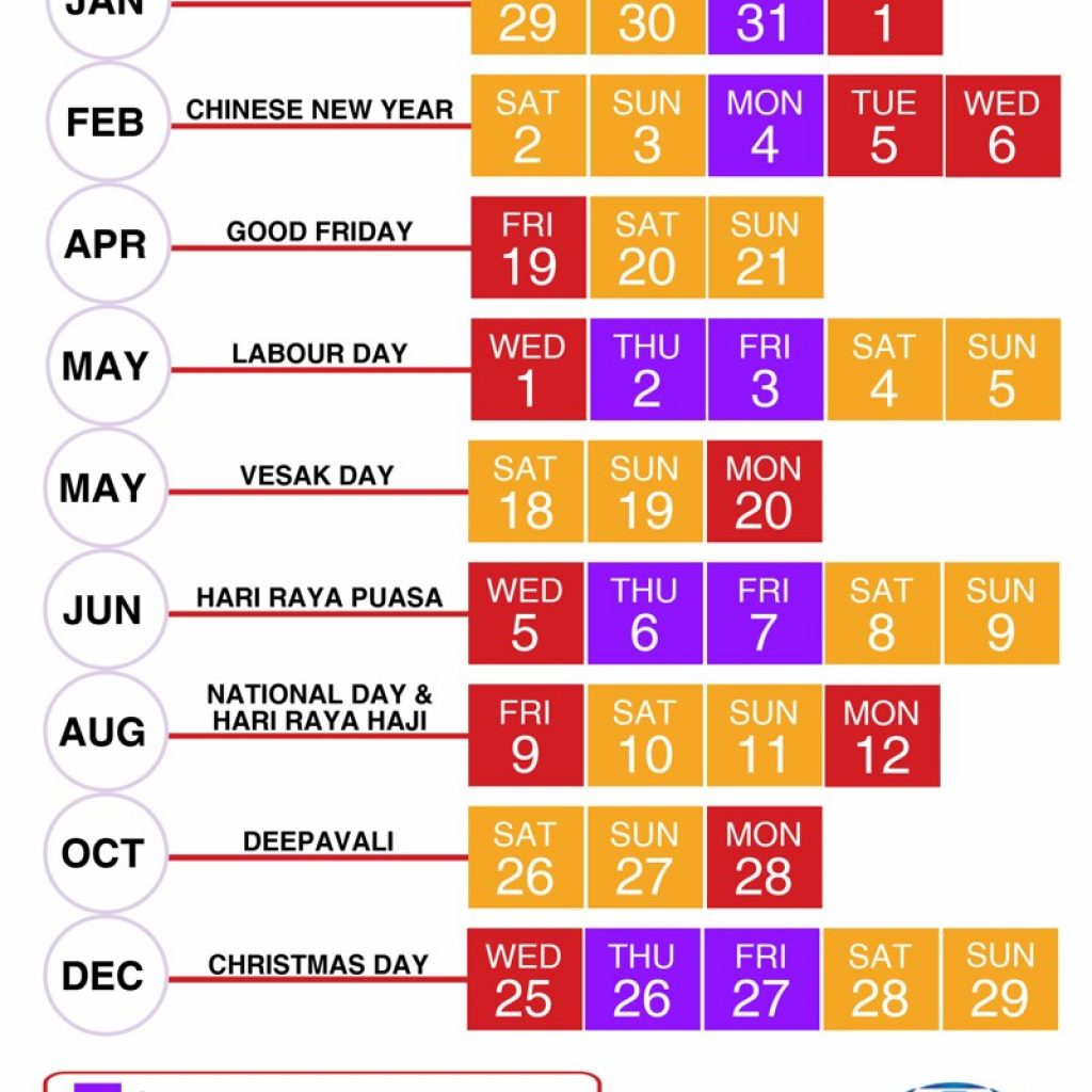 Calendar 2019 Chinese New Year With Public School Holidays Singapore 2018 18 Long Weekends