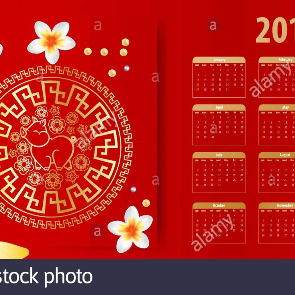 Calendar 2019 Chinese New Year With Stock Vector Art Illustration