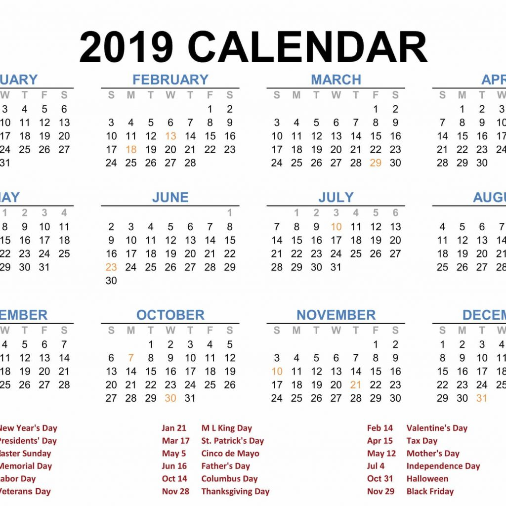 Calendar 2019 Tax Year With Blank Printable Pinterest