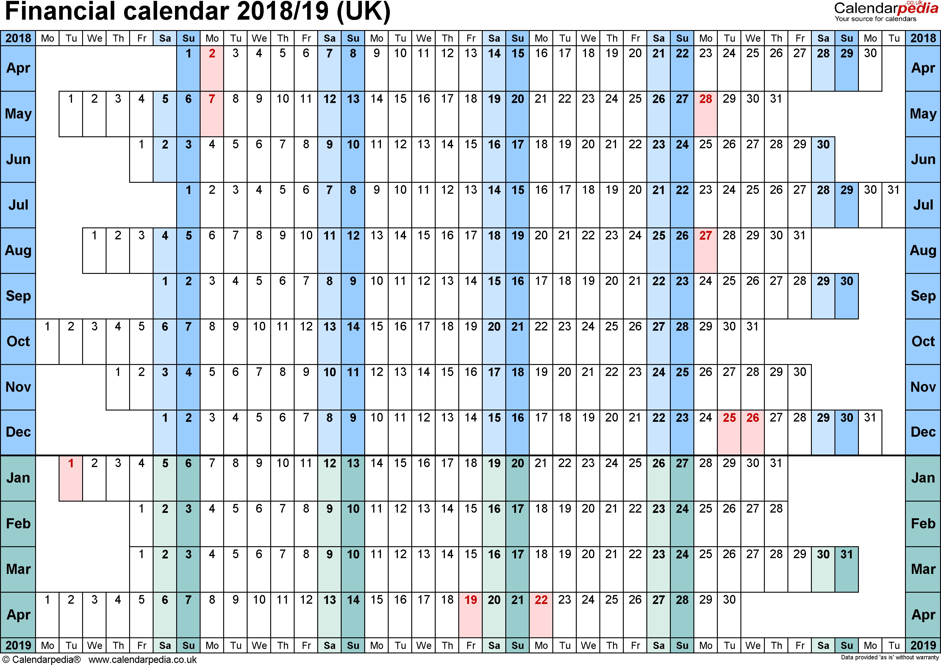 Calendar 2019 Tax Year With Financial Calendars 2018 19 UK In PDF Format