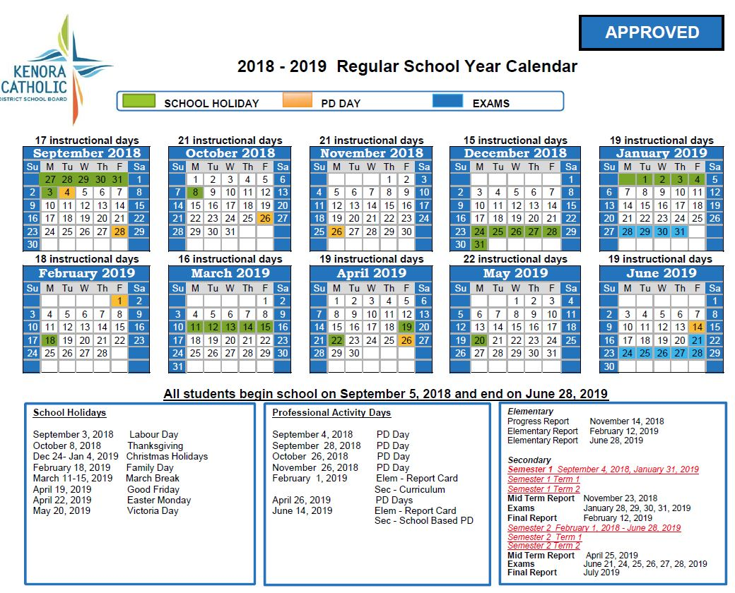 Calendar 2019 Tax Year With Kenora Catholic District School Board