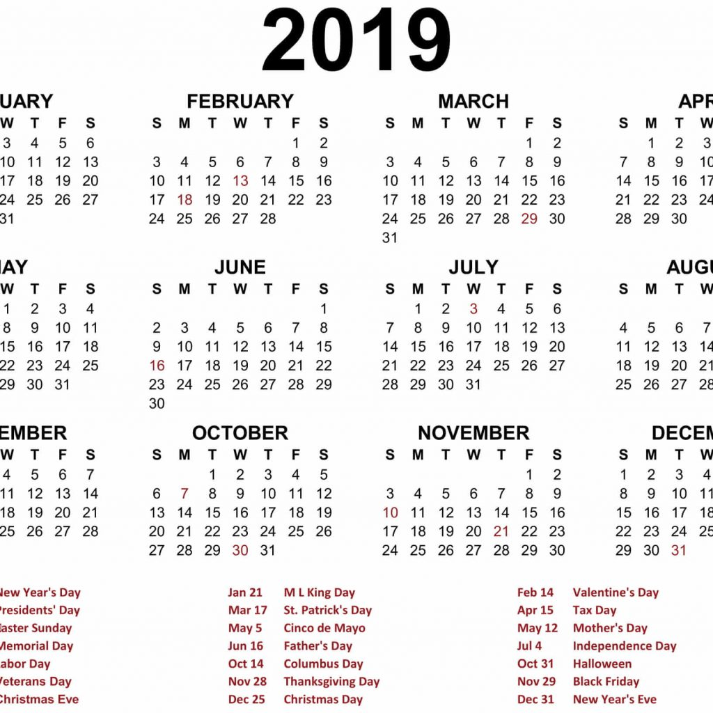 Calendar 2019 Tax Year With Printable Blank Templates Calenndar Com