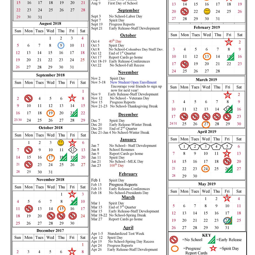 Calendar 2019 Tax Year With SCHOOL YEAR CALENDAR 2018 Painted Rock Academy
