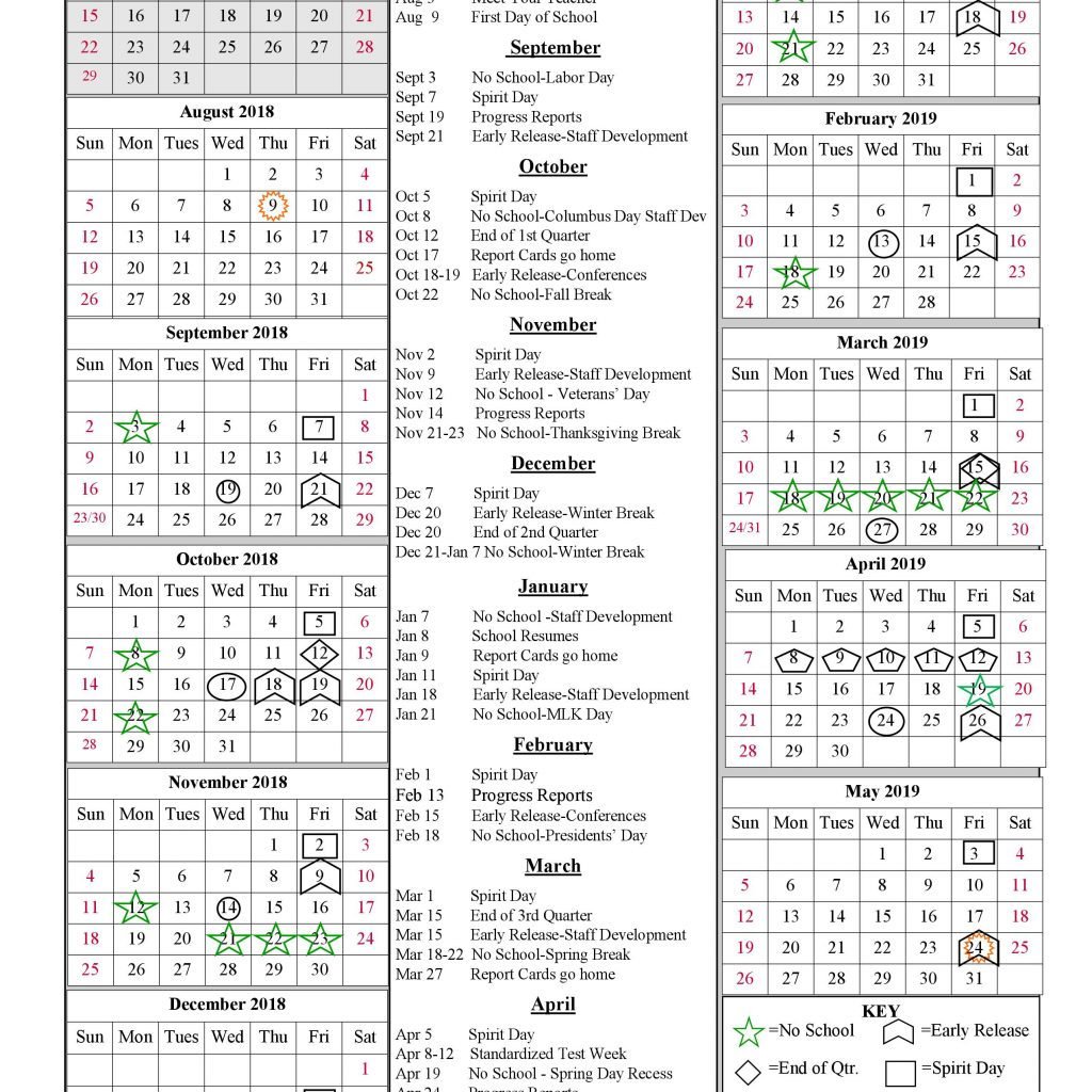 Calendar 2019 Tax Year With SCHOOL YEAR CALENDAR 2018 Valley Academy