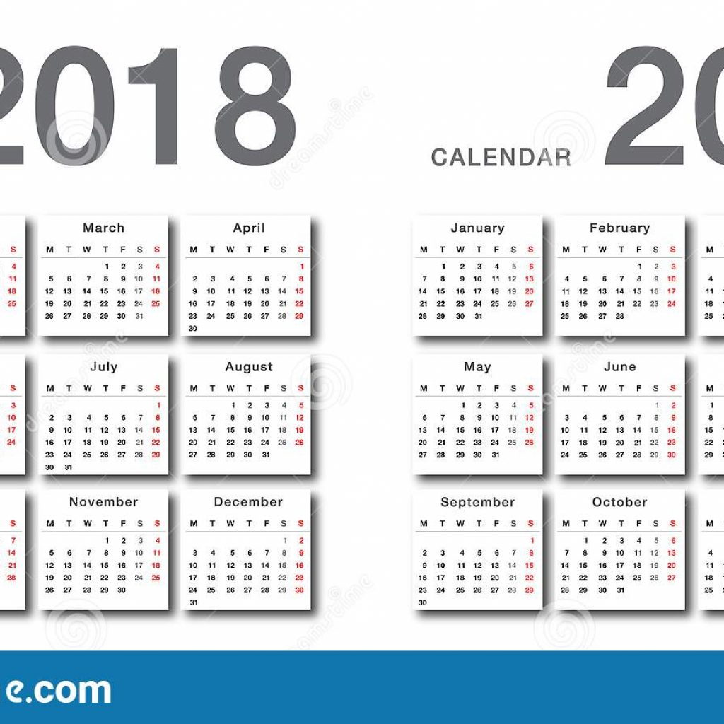 Calendar For Next Year 2019 With 2018 And Vector Design Template Simple