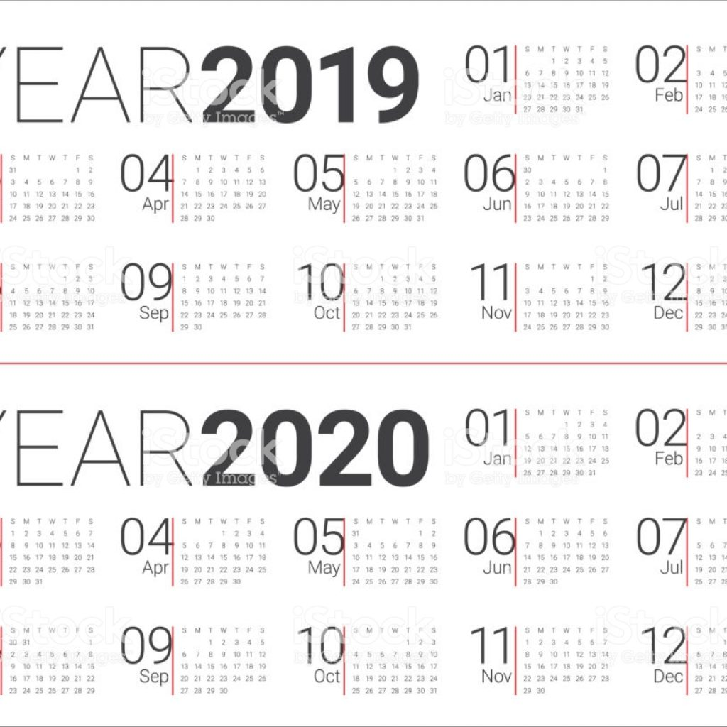 Calendar For Next Year 2019 With 2020 Vector Design Template Stock Art