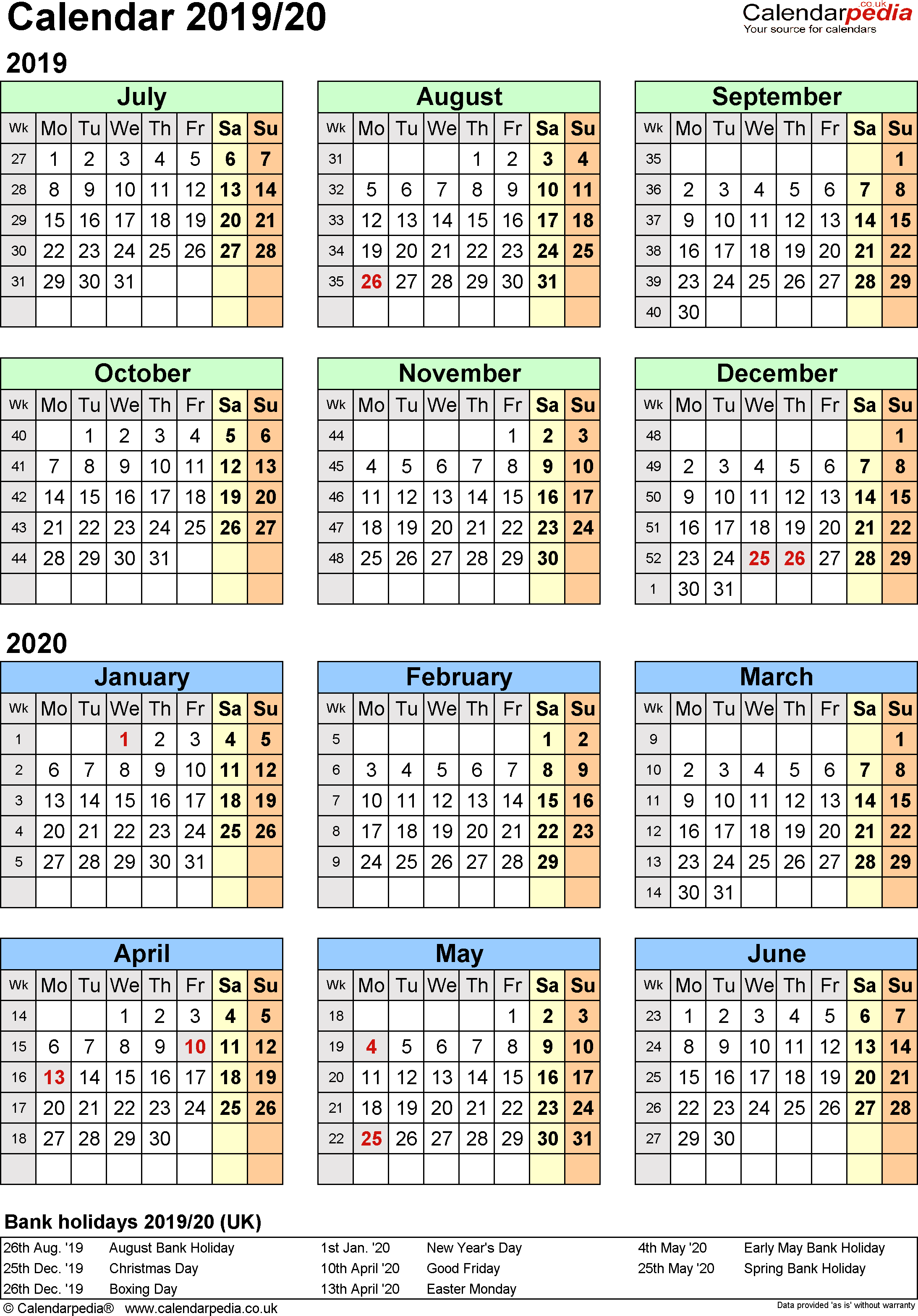 Calendar For Next Year 2019 With Split Calendars 20 July To June PDF UK Version