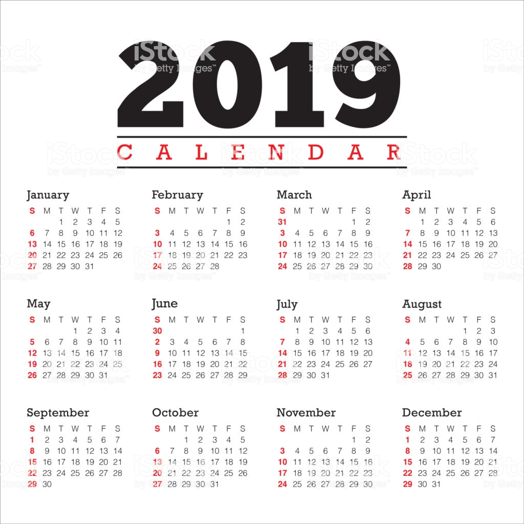 Calendar For Next Year 2019 With Vector Design Template Stock Art More