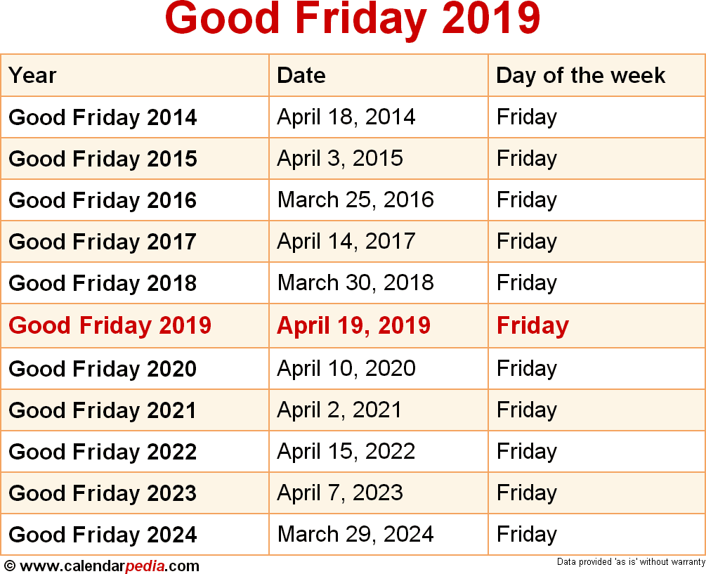 Calendar For Next Year 2019 With When Is Good Friday 2020 Dates Of
