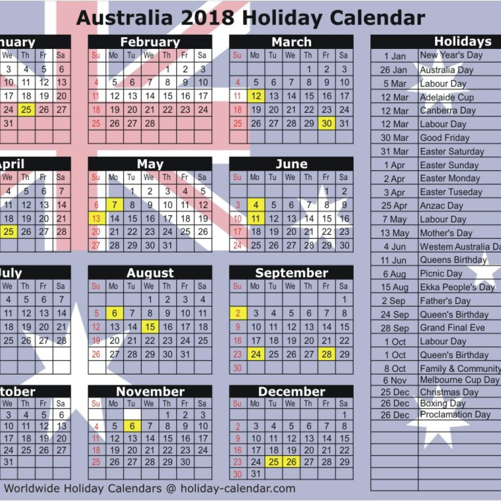 Calendar For Year 2019 Australia With 2018 Holiday