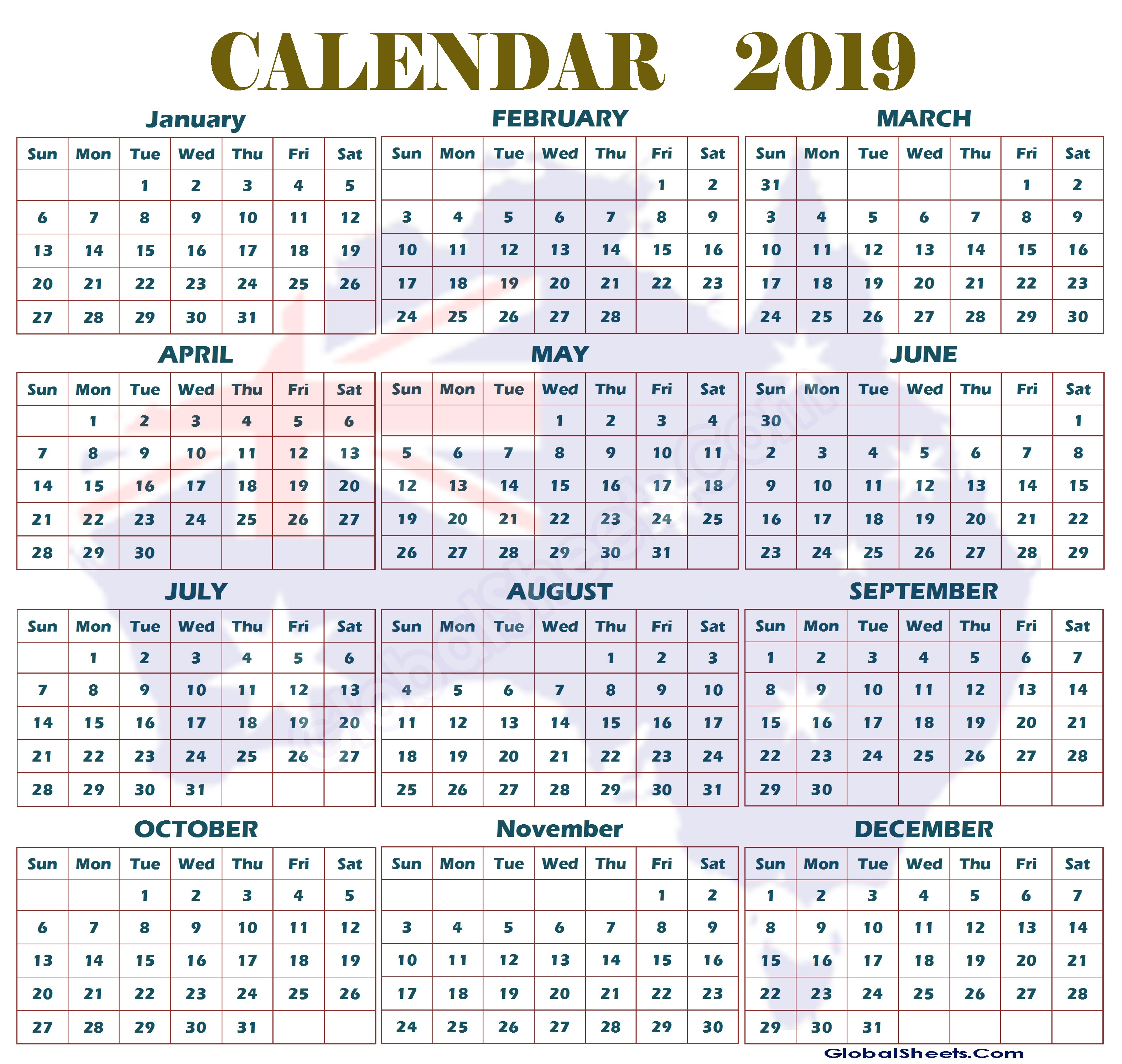 Calendar For Year 2019 Australia With And Printable Yearly