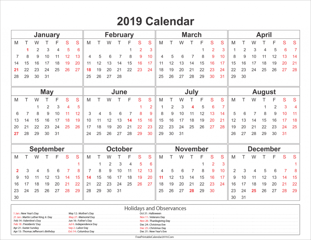 Calendar For Year 2019 Australia With Holidays US UK Canada 2018