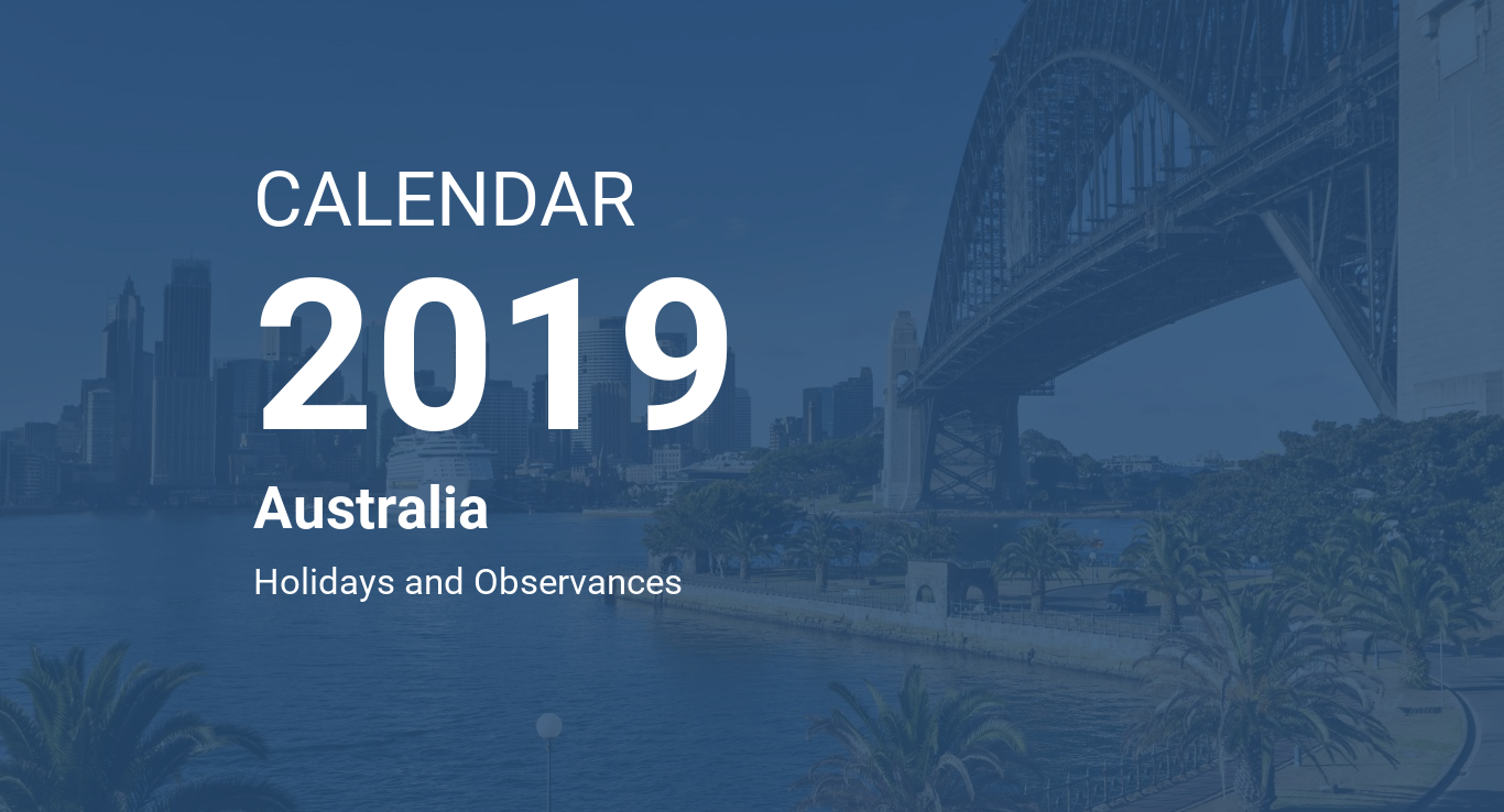 Calendar For Year 2019 Australia With