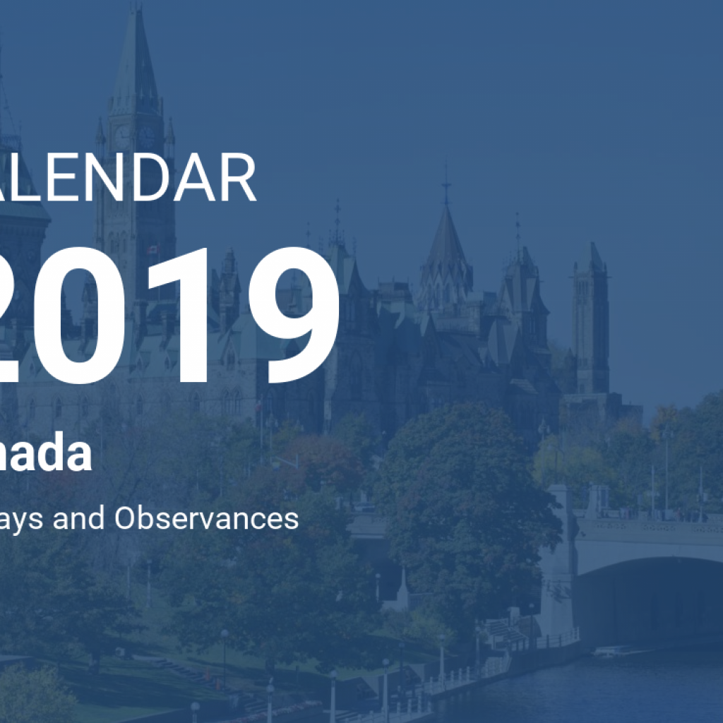 Calendar For Year 2019 Canada With