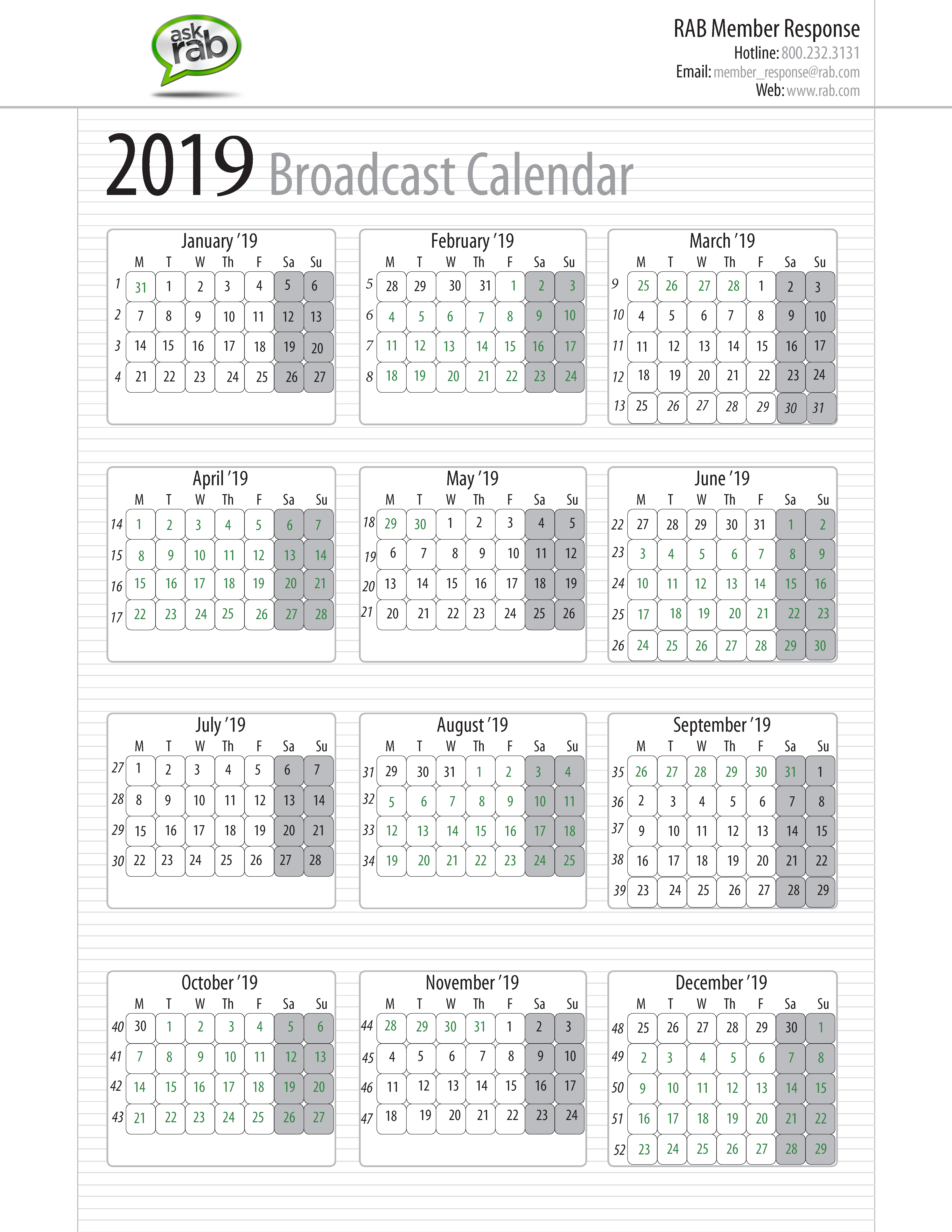 Calendar For Year 2019 Canada With Broadcast Calendars RAB Com
