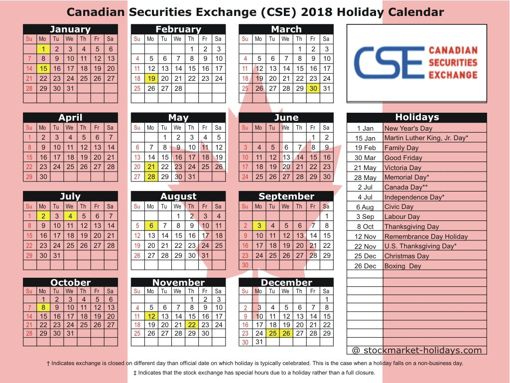 Calendar For Year 2019 Canada With Canadian Securities Exchange 2018 Holidays CSE