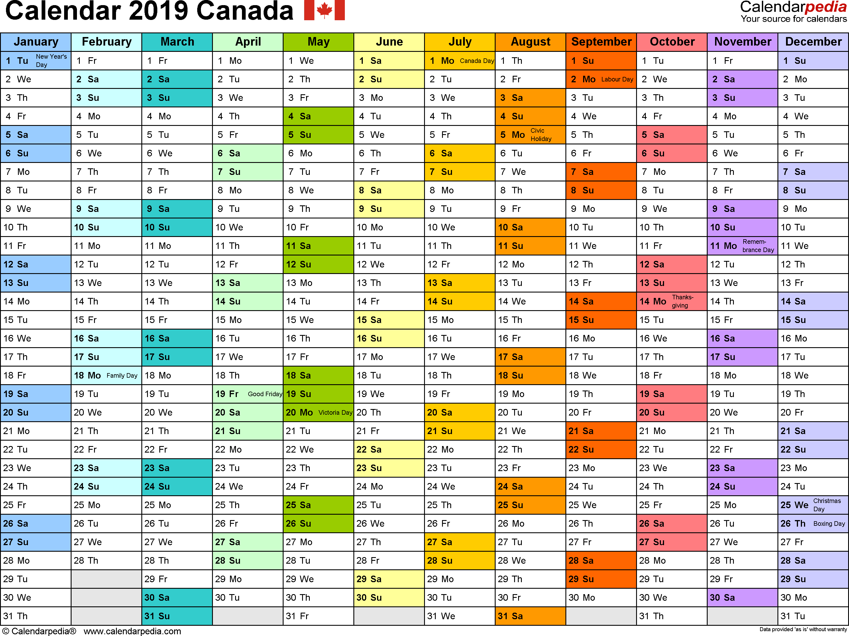 Calendar For Year 2019 Canada With Free Printable PDF Templates