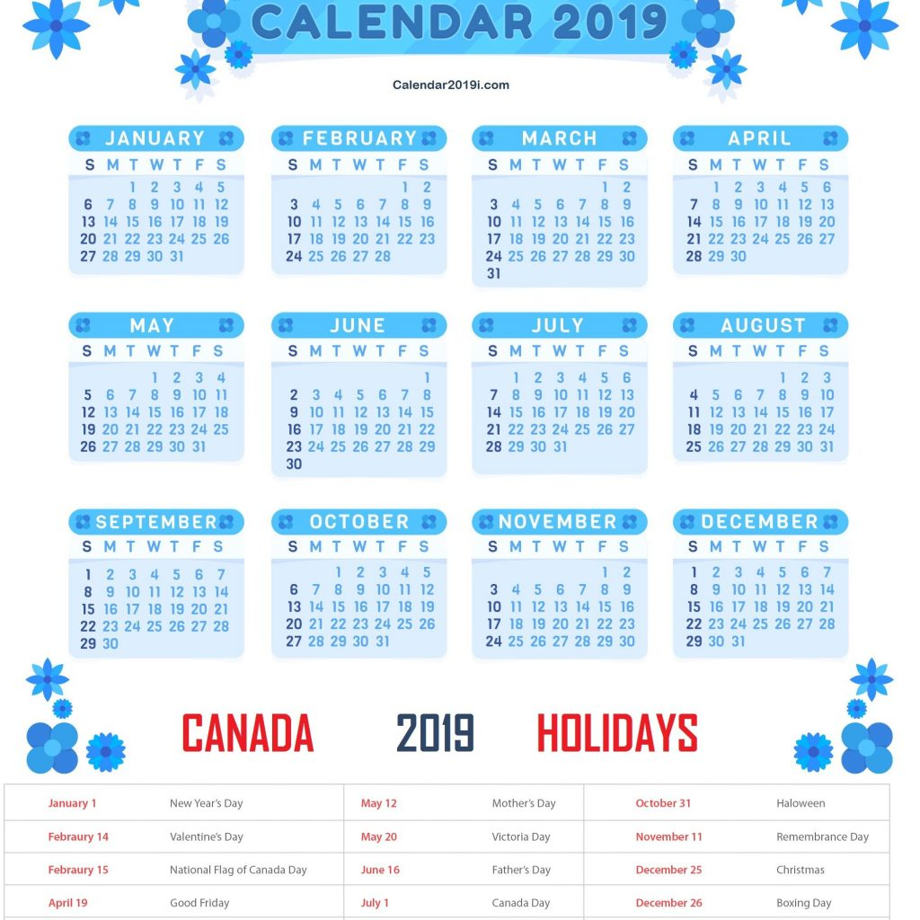 Calendar For Year 2019 Canada With Holidays Templates Printable Bank Public
