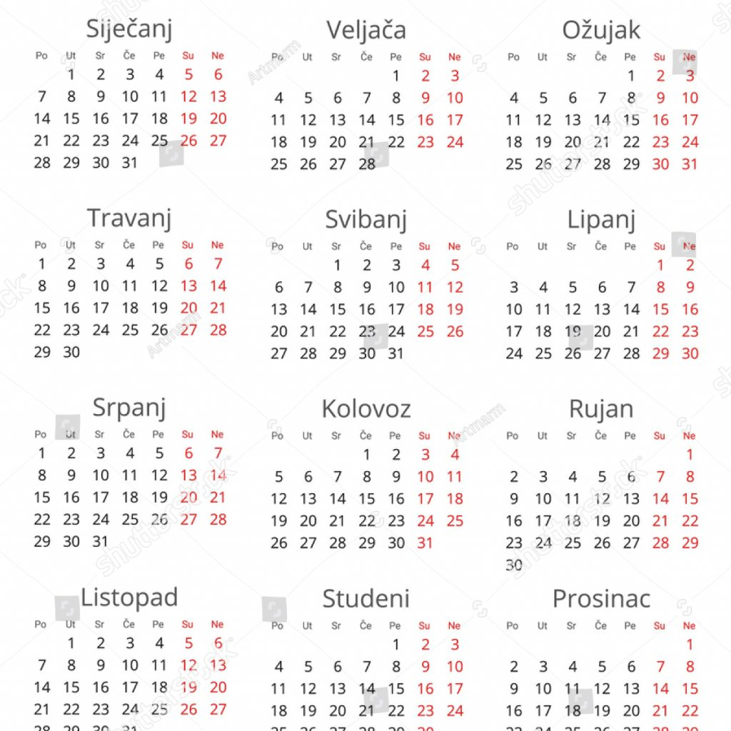 Calendar For Year 2019 Croatia With Country Croatian
