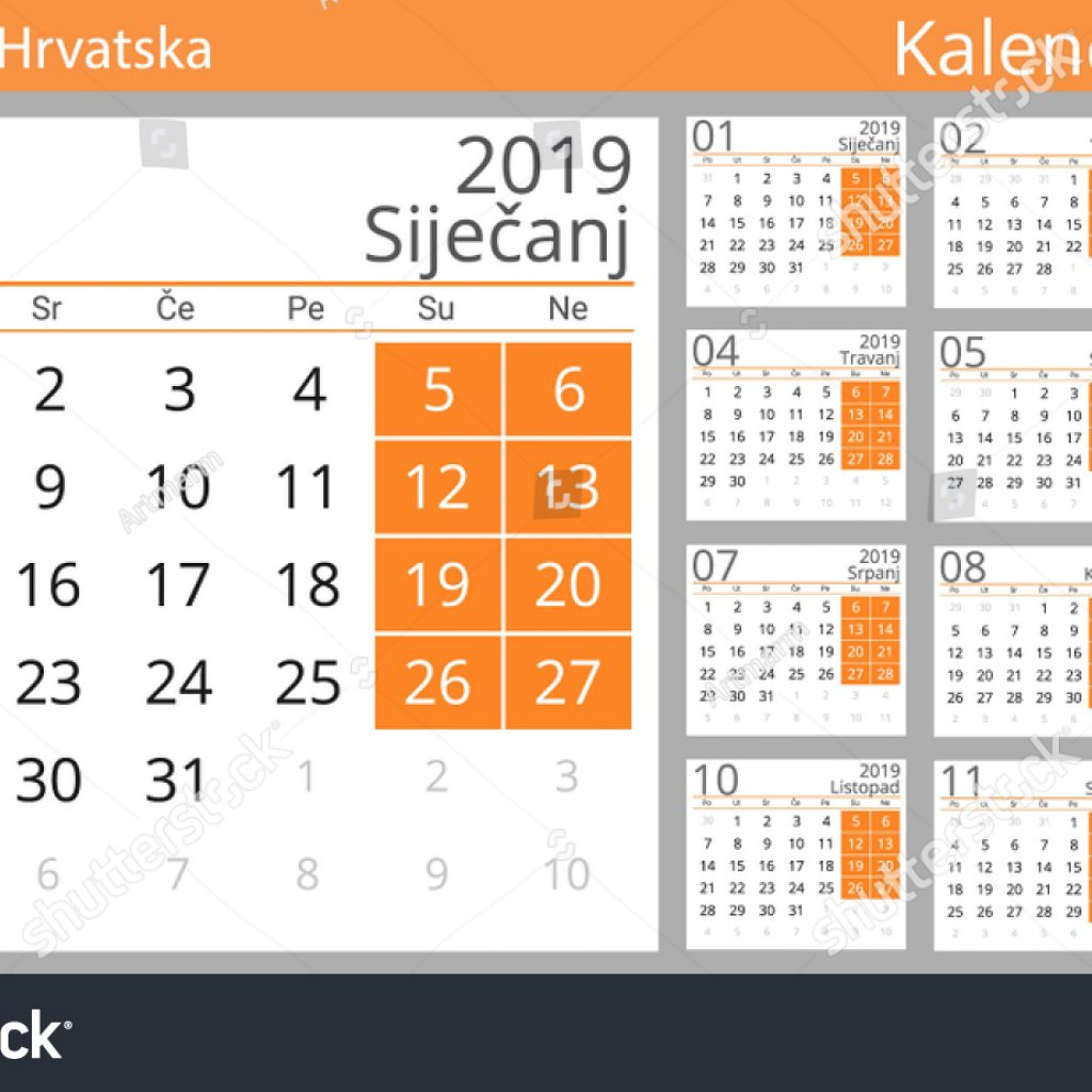 Calendar For Year 2019 Croatia With Country Croatian Stock Vector Royalty