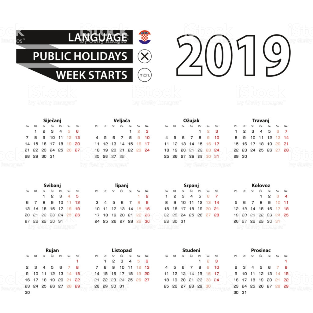 Calendar For Year 2019 Croatia With In Croatian Language Week Starts On Monday Stock