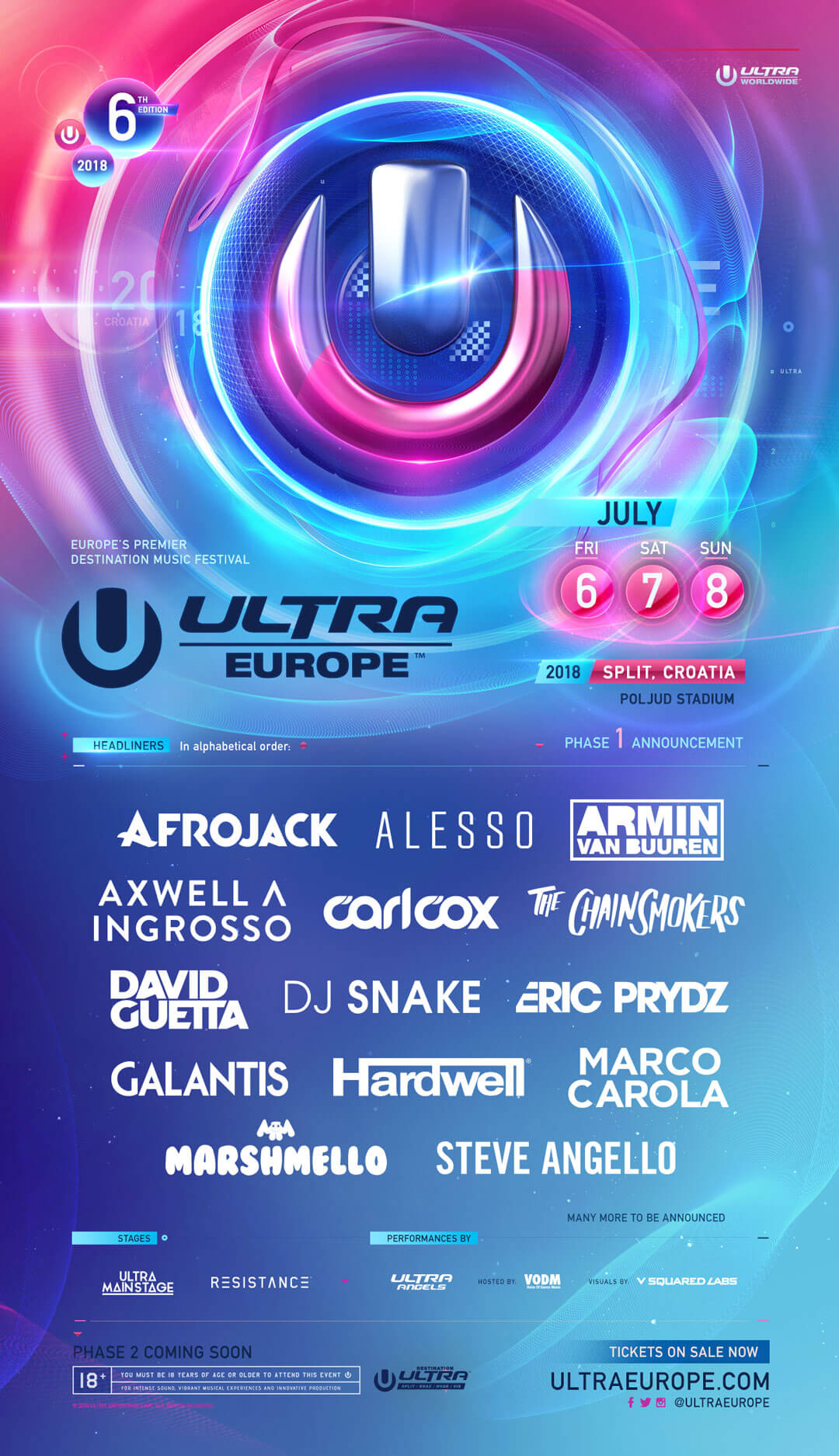 Calendar For Year 2019 Croatia With ULTRA Europe Releases 2018 Phase One Lineup Ultra