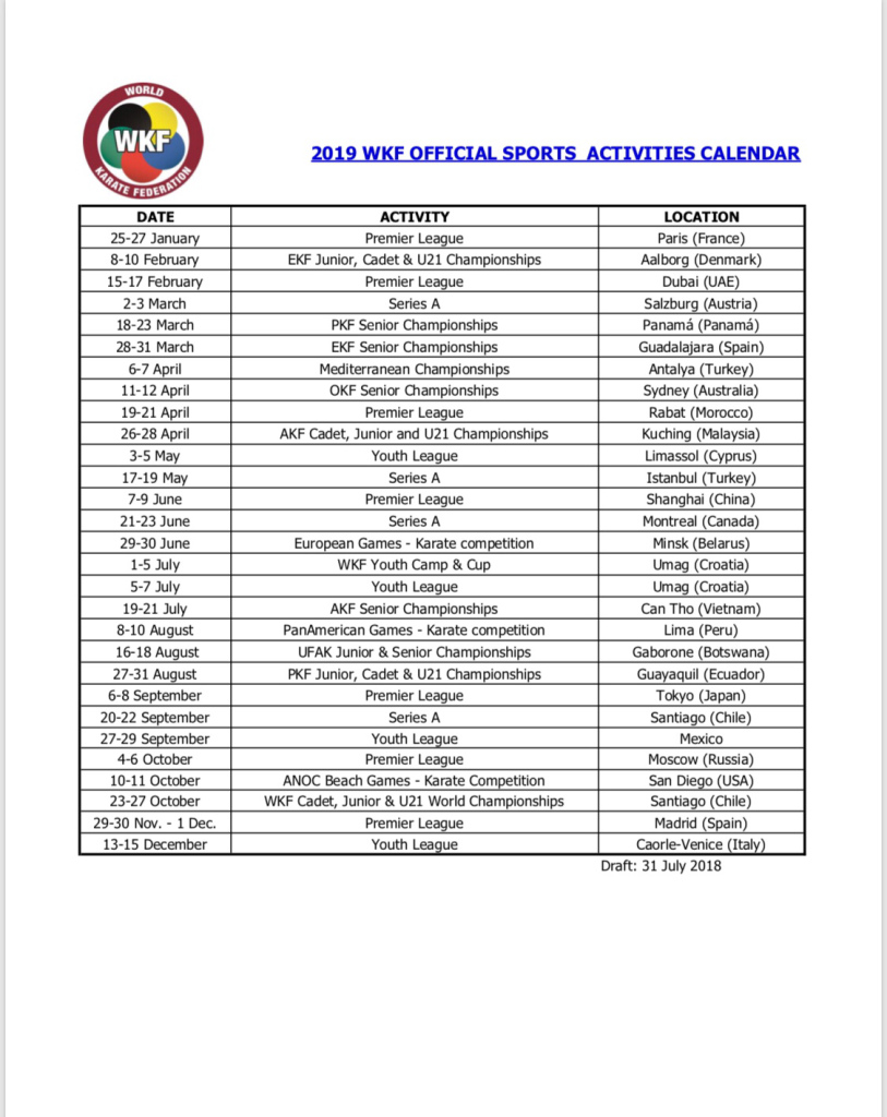 Calendar For Year 2019 Croatia With WKF Official Approved By The Executive Committee