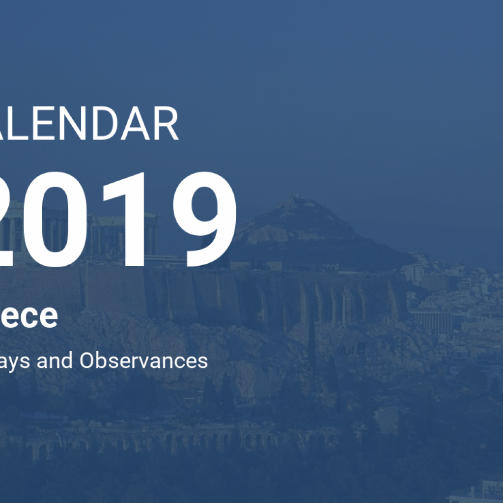 Calendar For Year 2019 Greece With