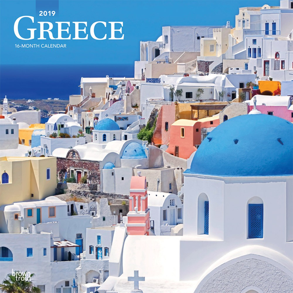 Calendar For Year 2019 Greece With 12 X Inch Monthly Square Wall Scenic Travel