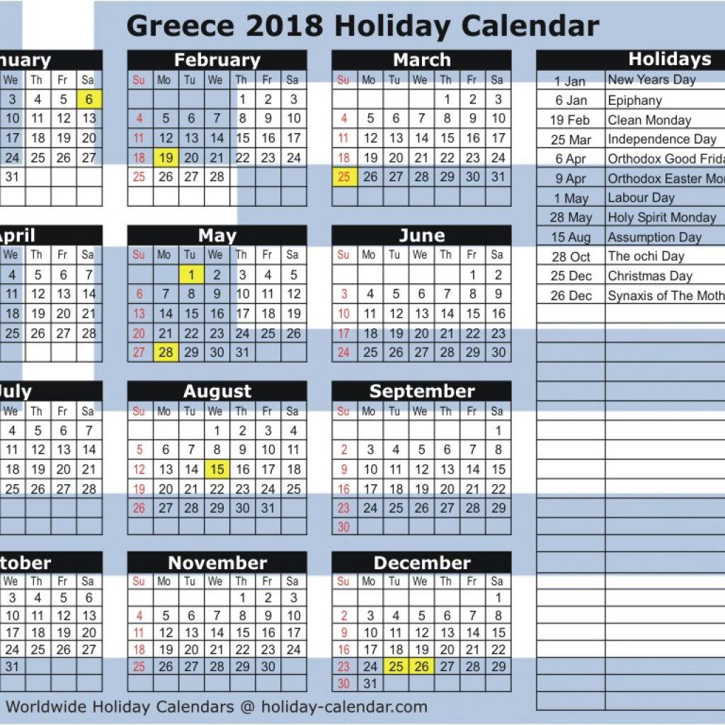 Calendar For Year 2019 Greece With 2018 Holiday