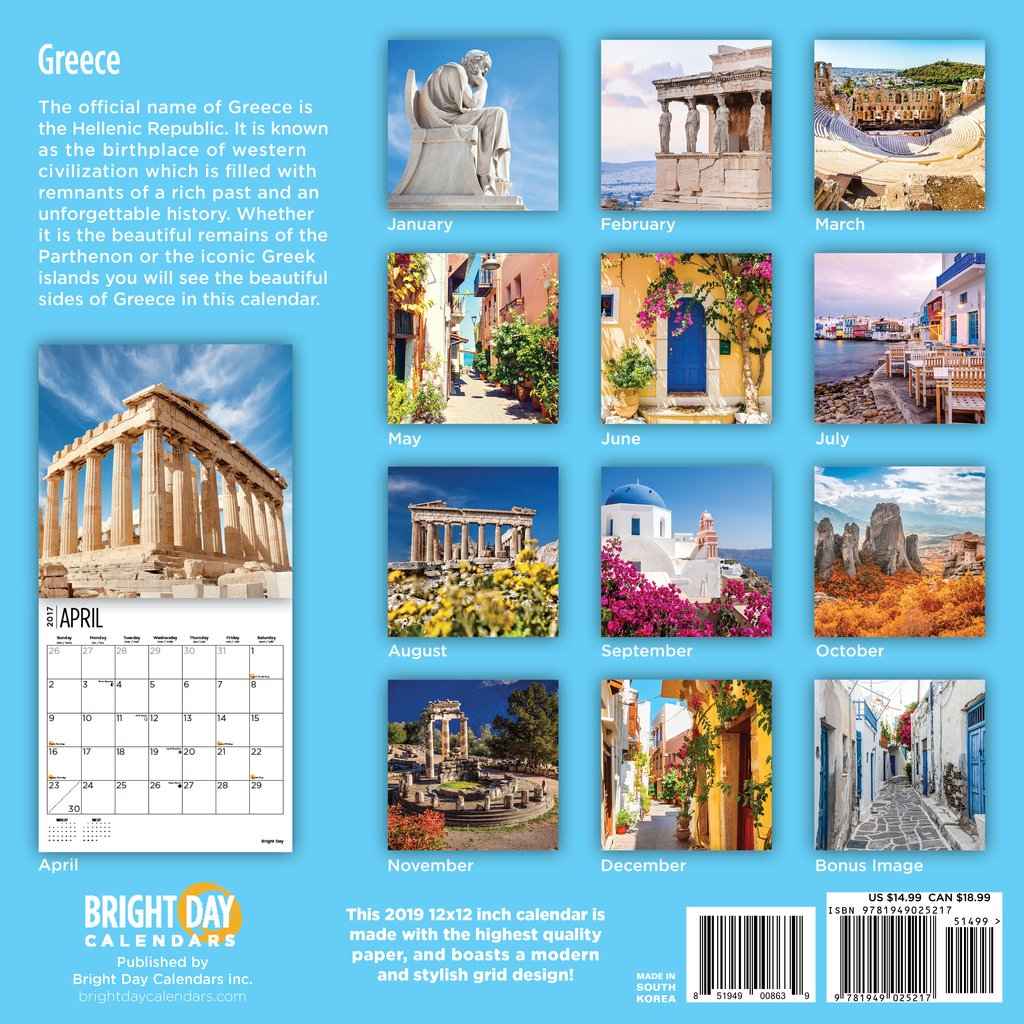 Calendar For Year 2019 Greece With Bright Day Calendars Wall