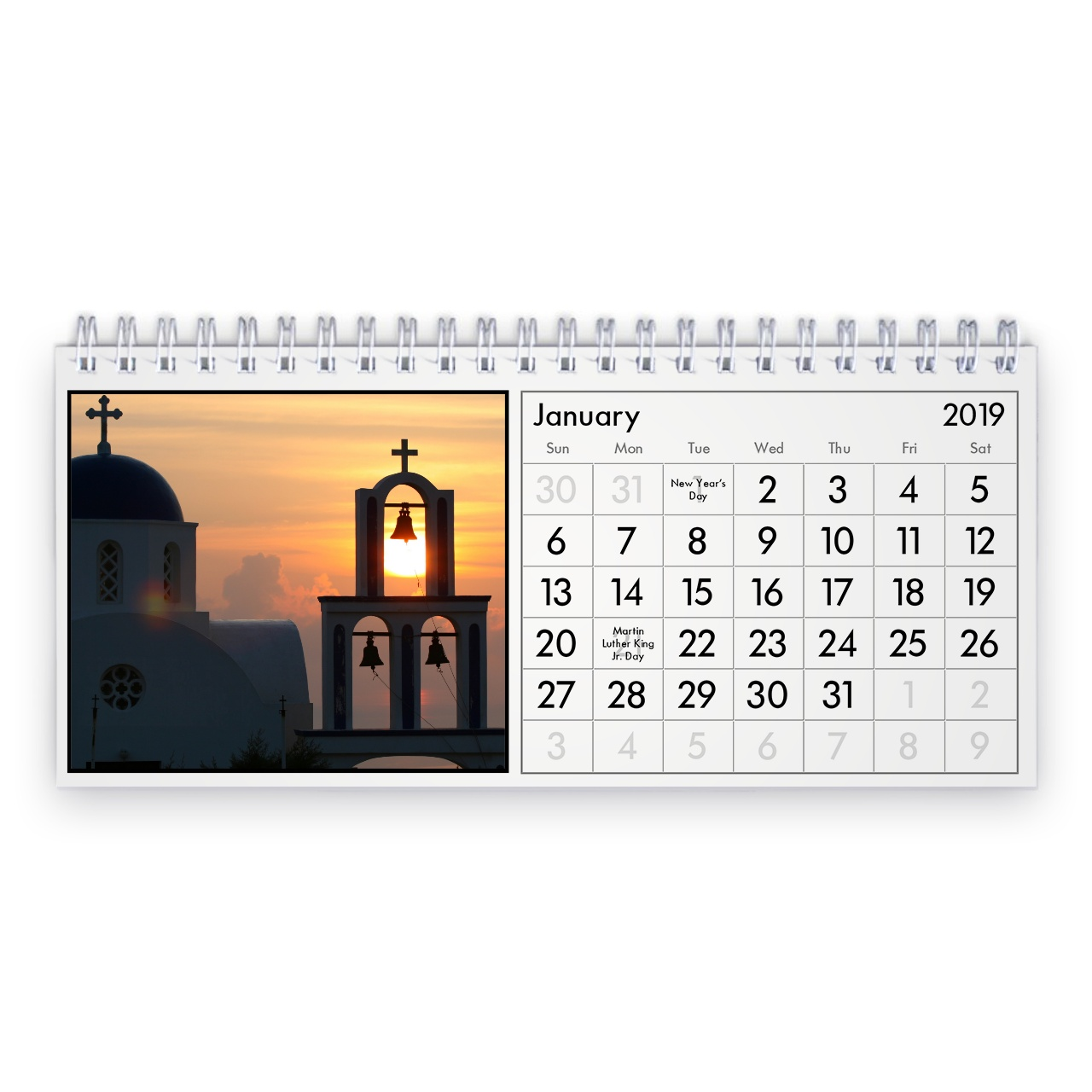 Calendar For Year 2019 Greece With Desk