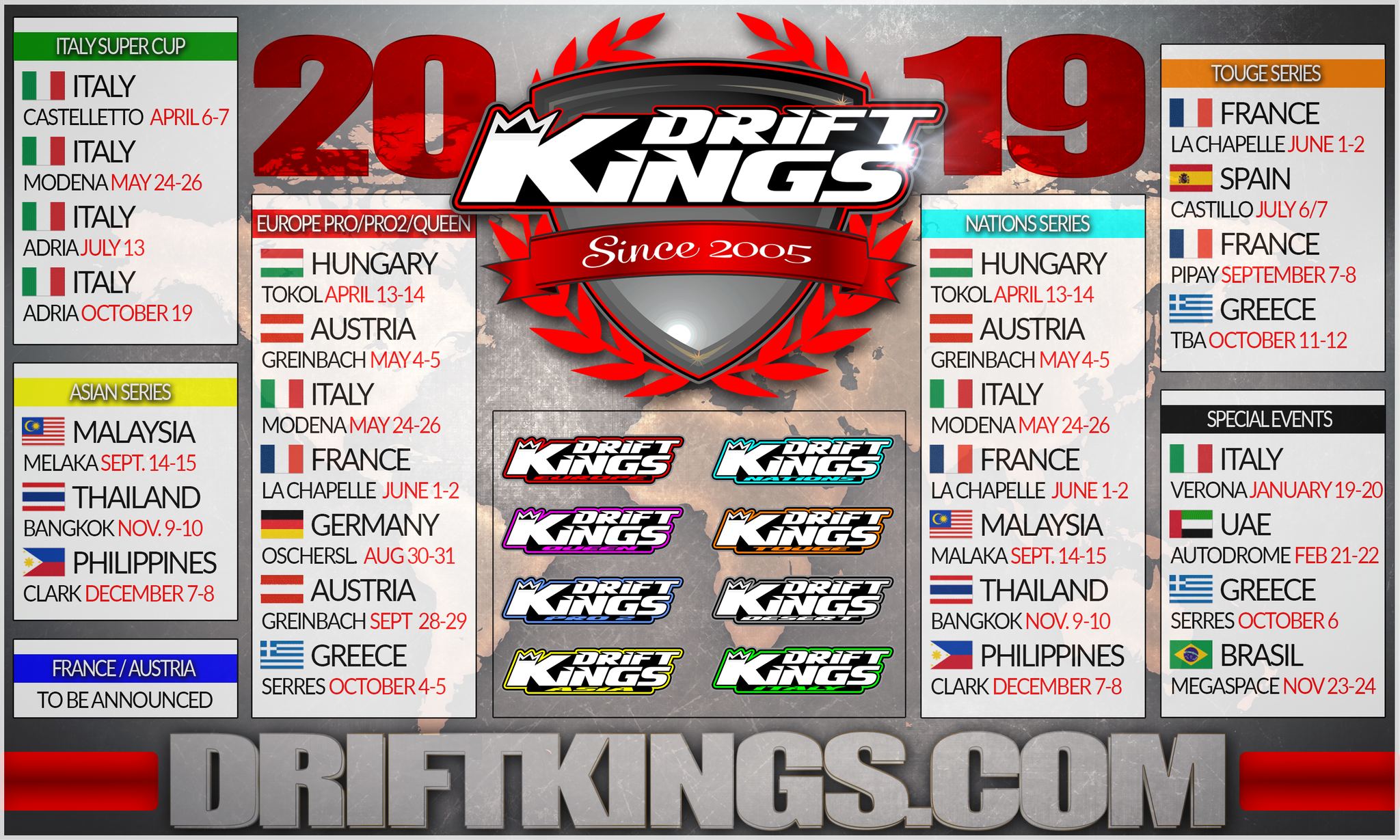 Calendar For Year 2019 Greece With Drift Kings