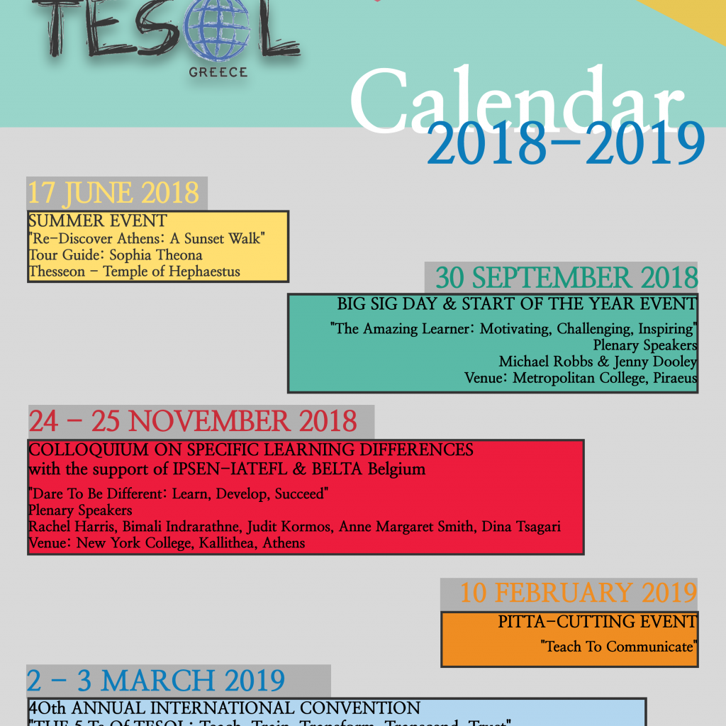 Calendar For Year 2019 Greece With TESOL In Pursuit Of Excellence